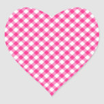 Hot Pink Gingham Chequered pattern Heart Sticker