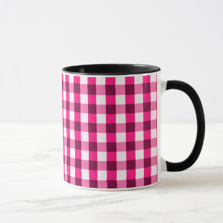 Hot Pink Gingham Pattern Mug