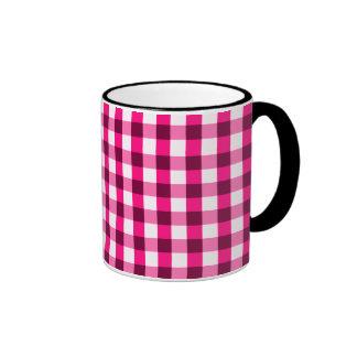 Hot Pink Gingham Pattern Ringer Coffee Mug