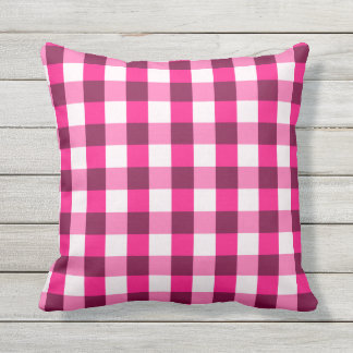 Hot Pink Gingham Pattern Outdoor Cushion