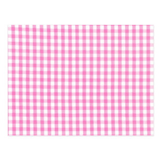 Hot pink Gingham pattern Post Cards