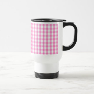 Hot pink Gingham pattern Travel Mug