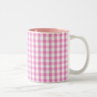 Hot pink Gingham pattern Two-Tone Coffee Mug