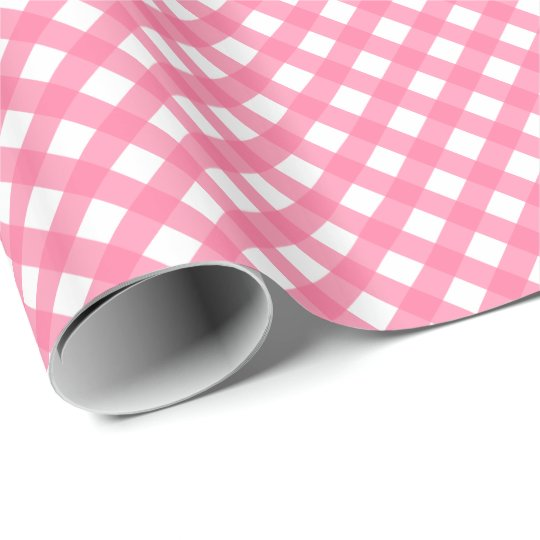 Hot Pink Gingham Print Glossy Wrapping Paper