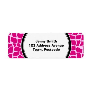 Hot pink giraffe pattern return address label