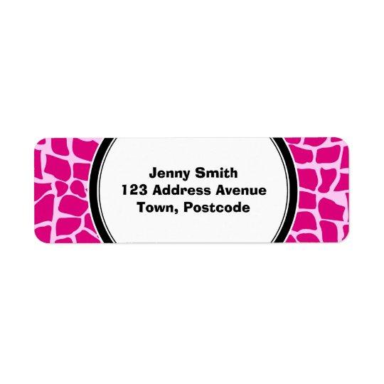 Hot pink giraffe pattern return address label