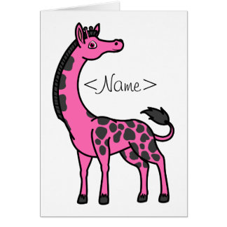 Hot Pink Giraffe with Black Spots Greeting Card