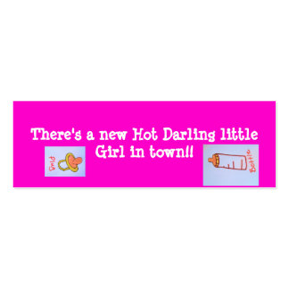 hot pink girl bookmarks pack of skinny business cards