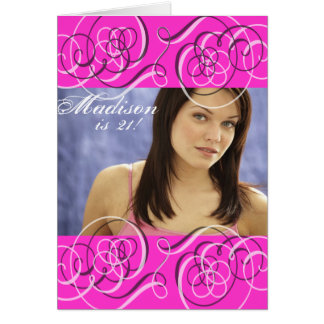 Hot Pink Girl's 21st Birthday Party Photo Card