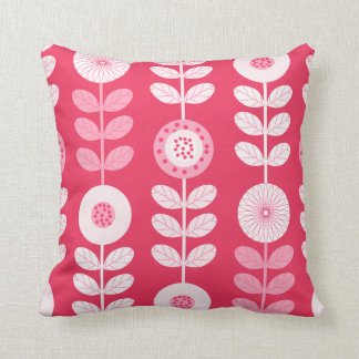 Hot Pink Girl's Bedroom Floral Pattern Pillow