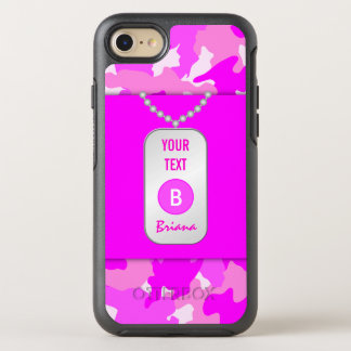 Hot Pink Girly Camo Camouflage Pattern Rugged OtterBox Symmetry iPhone 8/7 Case