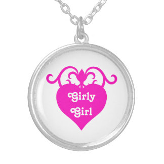Hot pink girly girl heart with swirls personalized necklace