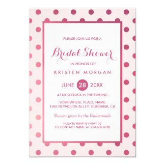 Hot Pink Girly Polka Dots Modern Bridal Shower 13 Cm X 18 Cm Invitation Card