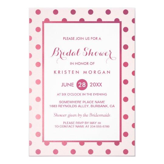 Hot Pink Girly Polka Dots Modern Bridal Shower