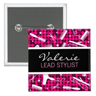 Hot Pink Glam Custom Hair Salon Name Badge Button
