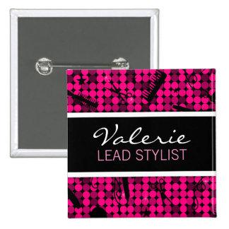 Hot Pink Glam Hair Salon Name Badge Pinback Buttons