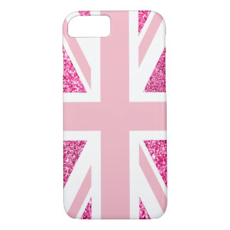 Hot Pink Glitter and Light Pink Union Jack iPhone 8/7 Case