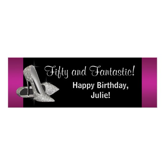 Hot Pink Glitter High Heels Birthday Party Banner