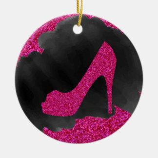 Hot Pink Glitter High Heels Black Ink Christmas Ornament