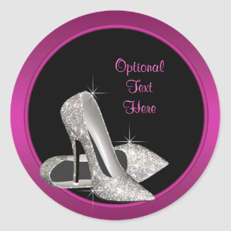 Hot Pink Glitter High Heels Envelope Seal Sticker