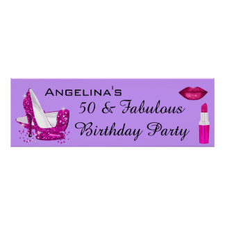 Hot Pink Glitter High Heels Purple Birthday Banner Poster