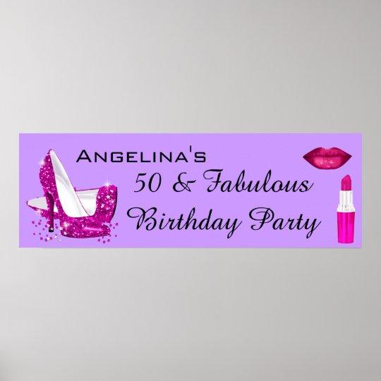 Hot Pink Glitter High Heels Purple Birthday Banner