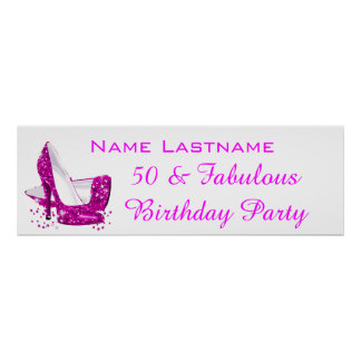 Hot Pink Glitter High Heels White Birthday Banner Poster