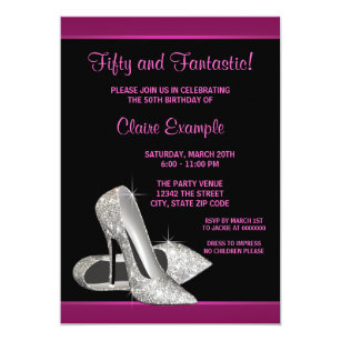 Birthday Invitations Party Invites Ladies Pink Heels 20th 30th 40th 50th Polka Home Furniture DIY