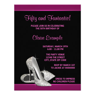 Hot Pink Glitter High Heels Womans 50th Birthday Invitations