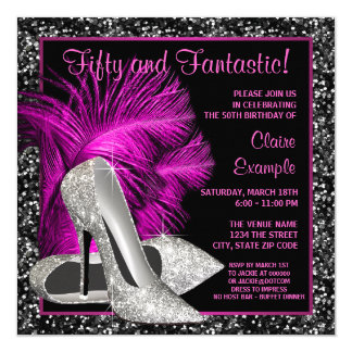 Hot Pink Glitter High Heels Womans Birthday 13 Cm X 13 Cm Square Invitation Card
