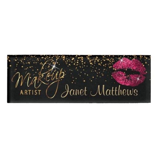 Hot Pink Glitter Lips and Elegant Gold Name