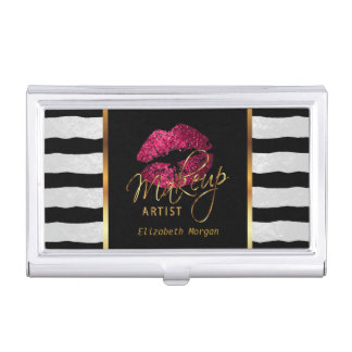 Hot Pink Glitter Lips and White Stripes Business Card Holder