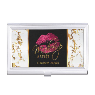 Hot Pink Glitter Lips on Gold & White Marble Business Card Holder