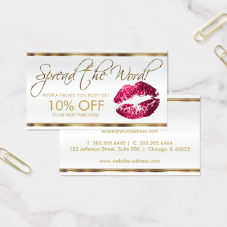 Hot Pink Glitter Lipstick Business Referral Business Card