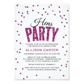 Hot Pink Glitter Look Confetti Hens Party 13 Cm X 18 Cm Invitation Card
