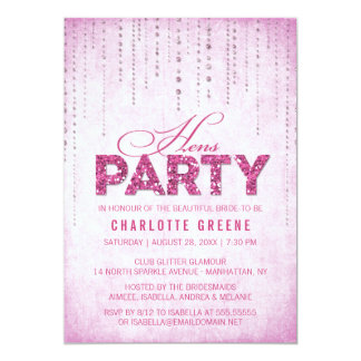 Hot Pink Glitter Look Hens Party Card