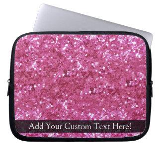 Hot Pink Glitter Look Laptop Sleeve