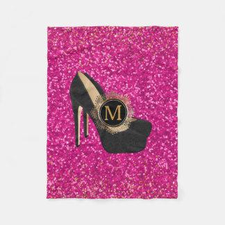 Hot Pink Glitter Monogram | High Heels Girly Shoes Fleece Blanket