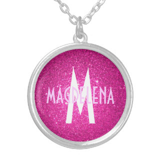 Hot pink Glitter monogram necklace