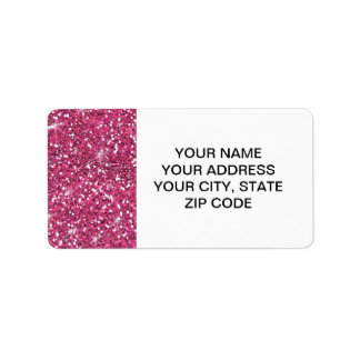 Hot Pink Glitter Printed Address Label