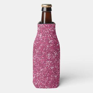 Hot Pink Glitter Printed Bottle Cooler