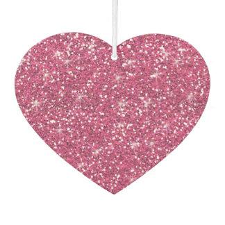 Hot Pink Glitter Printed Car Air Freshener