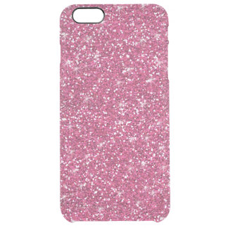 Hot Pink Glitter Printed Clear iPhone 6 Plus Case