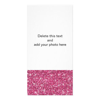 Hot Pink Glitter Printed Custom Photo Card