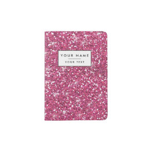 Hot Pink Glitter Printed Passport Holder
