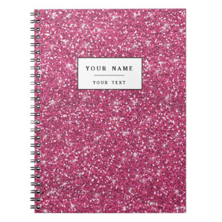 Hot Pink Glitter Printed Spiral Notebook