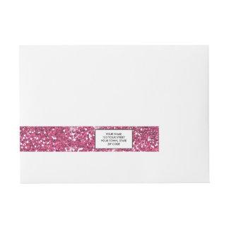 Hot Pink Glitter Printed Wraparound Address Label