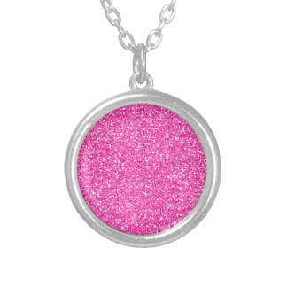 Hot Pink Glitter Round Pendant Necklace