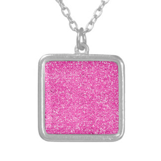 Hot Pink Glitter Square Pendant Necklace