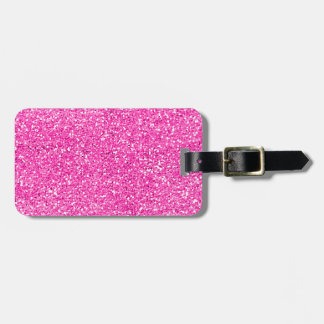 Hot Pink Glitter Tag For Bags